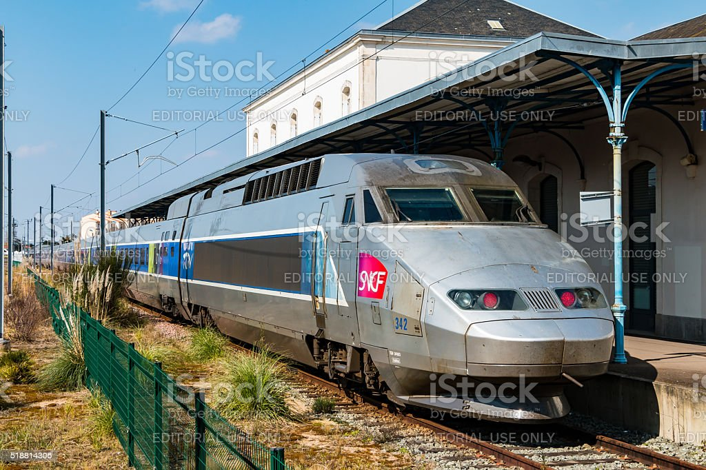 French TGV to stop at a station stock photo