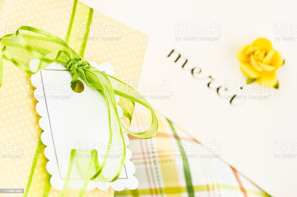 French Thank You Card and Gifts royalty-free stock photo