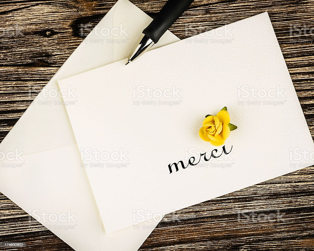 French Thank You Card royalty-free stock photo