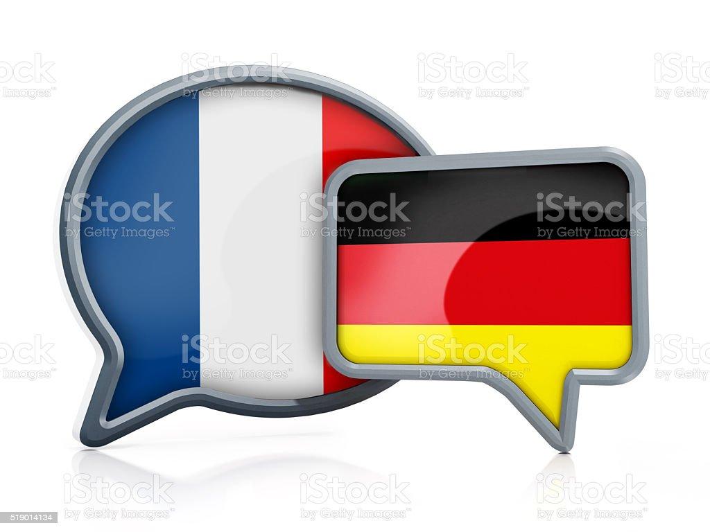 French to German translation stock photo