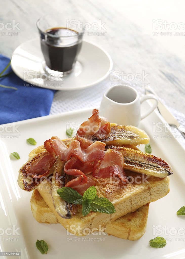 French Toast And Bacon royalty-free stock photo
