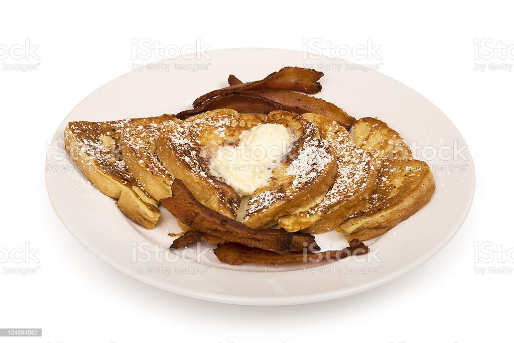 French toast and bacon with clipping path stock photo