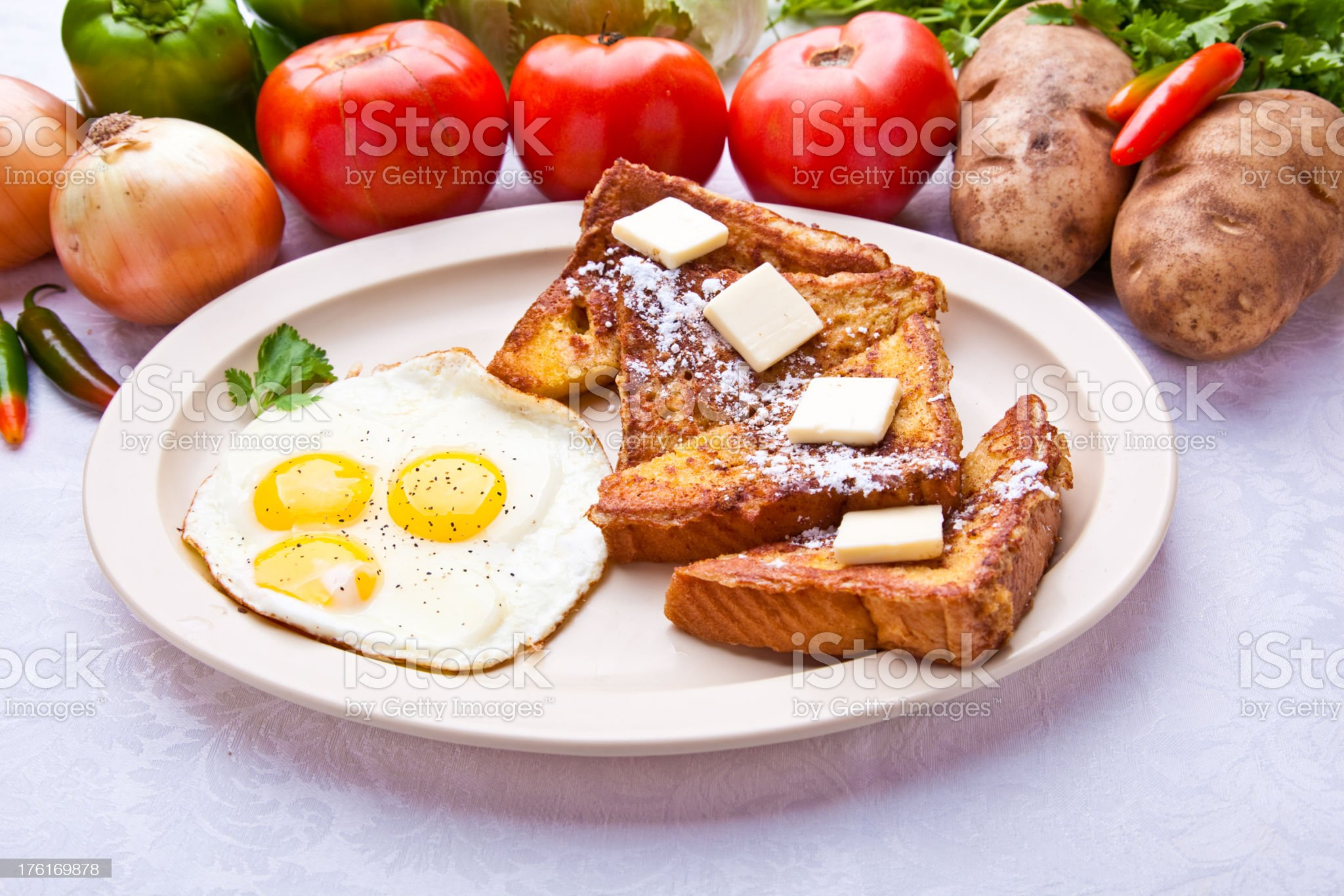 French Toast and Eggs royalty-free stock photo