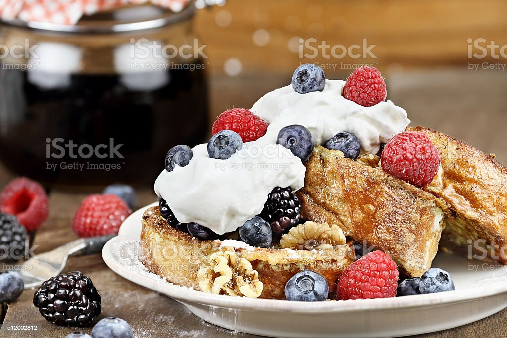 French Toast and Fresh Berries stock photo
