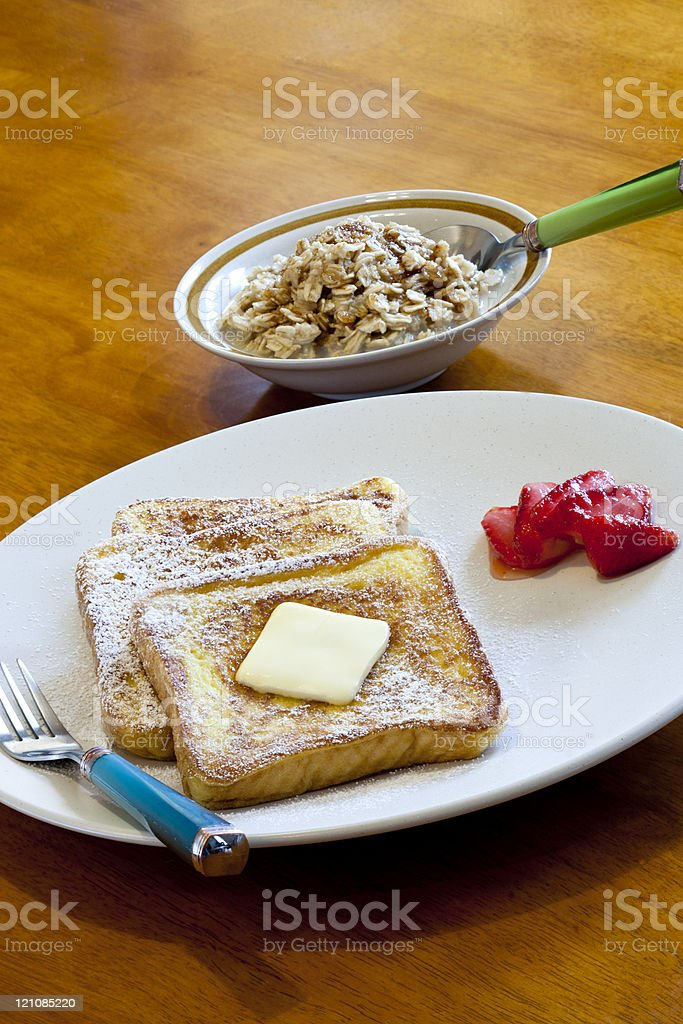 French toast and oatmeal. stock photo