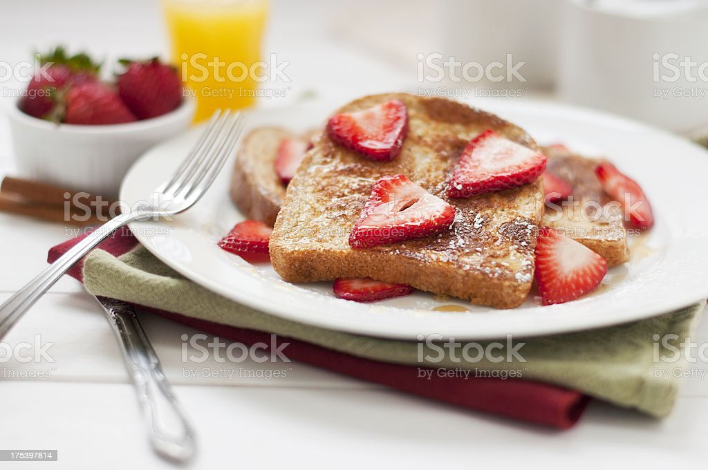 French Toast and Strawberry Breakfast stock photo