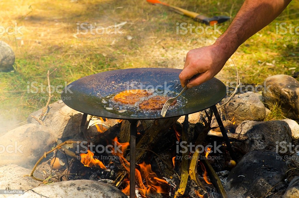French toast on a camp fire stock photo
