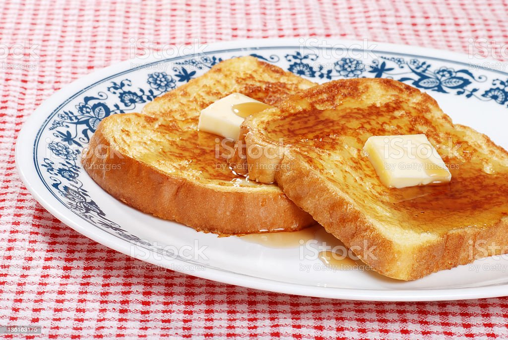 french toast on a plate stock photo