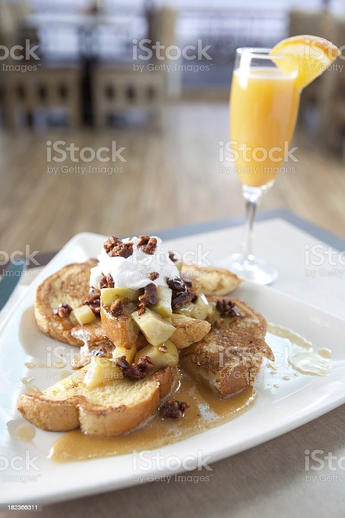 French toast with apple chutney and pecans stock photo