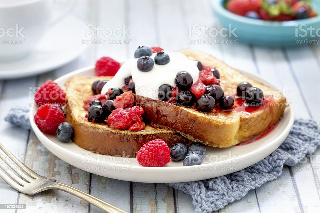 French Toast with Berries and Cream stock photo