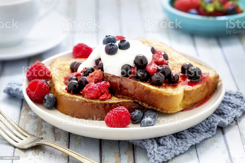 French Toast with Berries and Yogurt stock photo