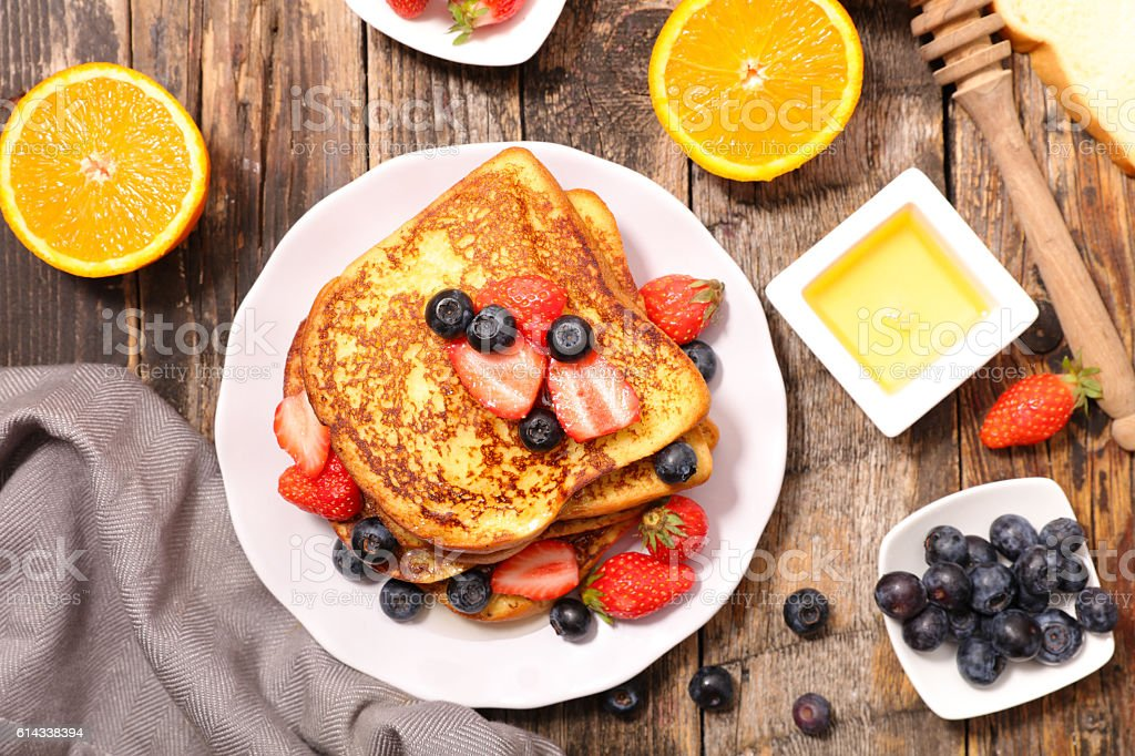 french toast with berry stock photo