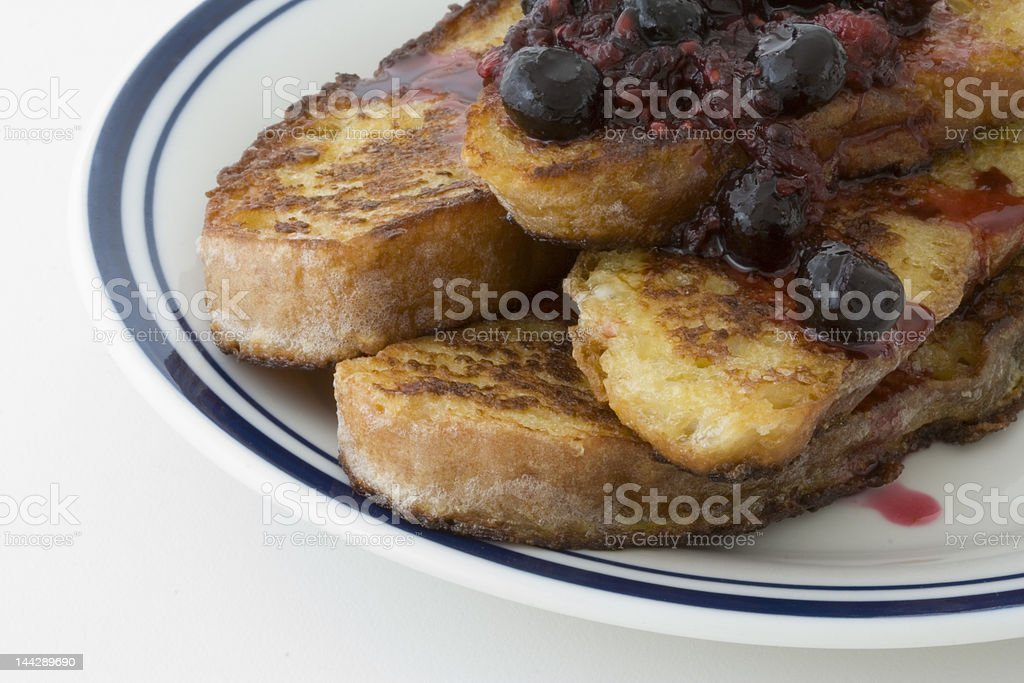 French toast with berry sauce royalty-free stock photo