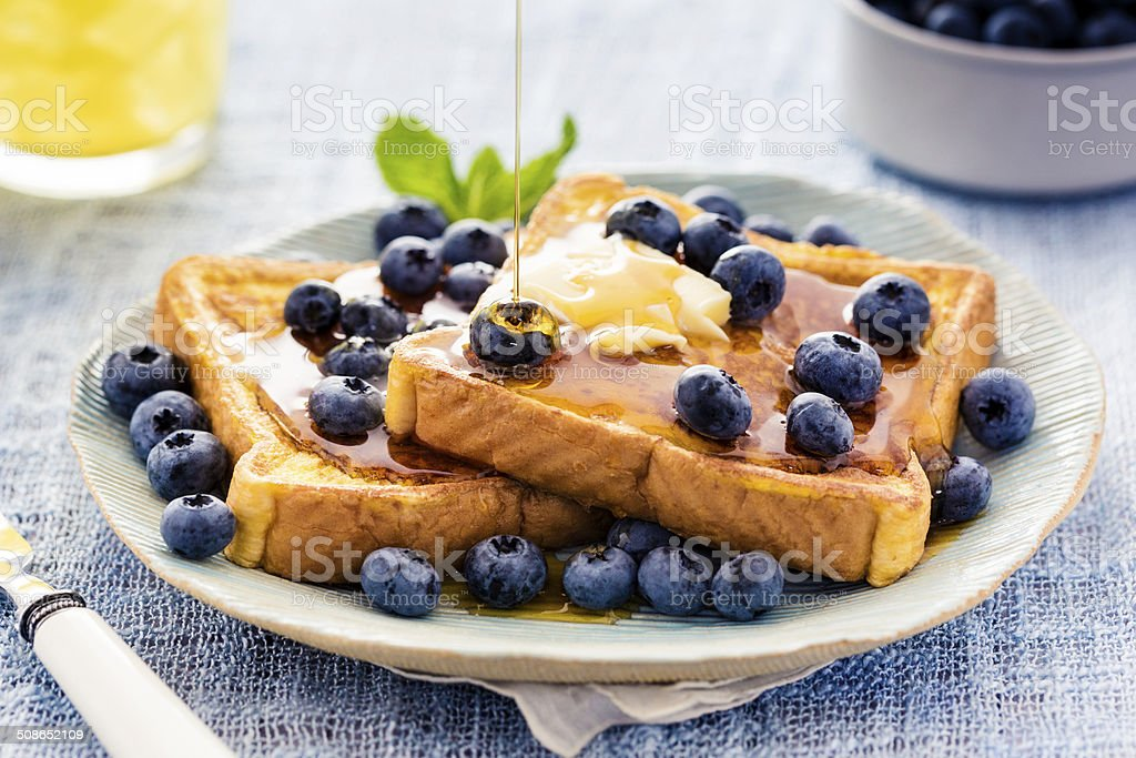 French Toast with Blueberries and Maple Syrup stock photo