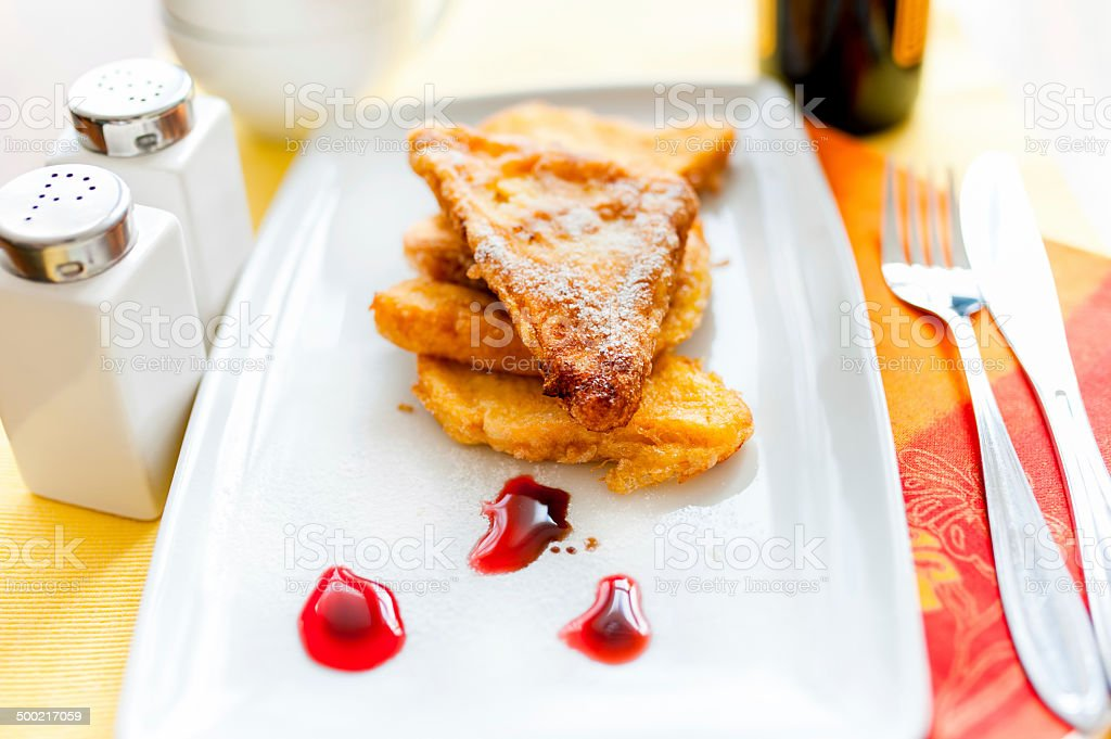 French toast with butter and gem at breakfast stock photo