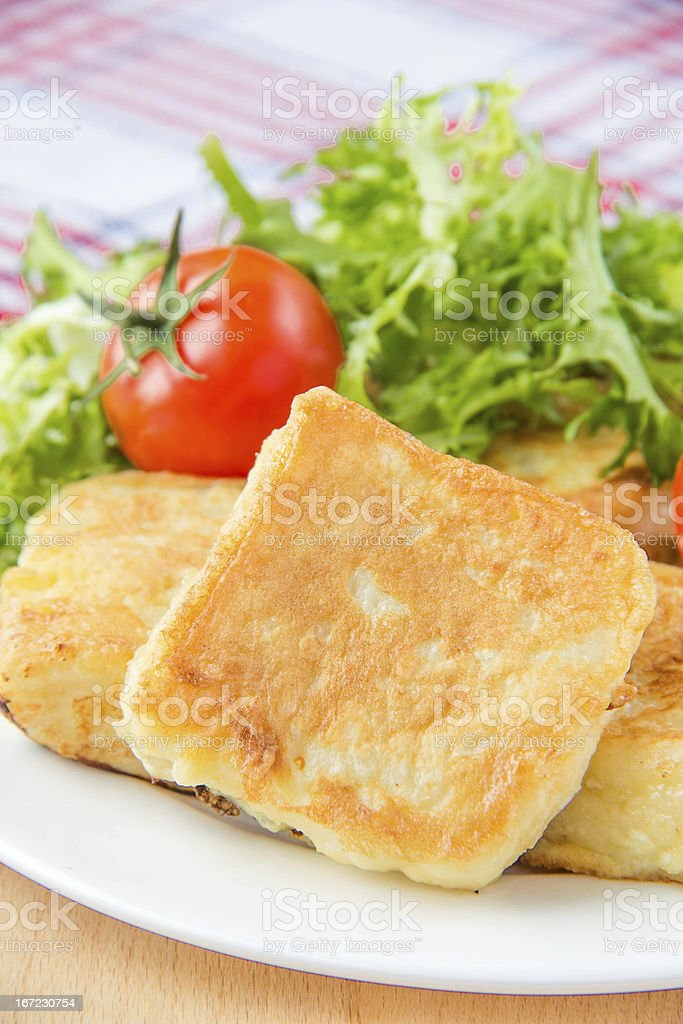 French toast with eggs and mozzarella royalty-free stock photo