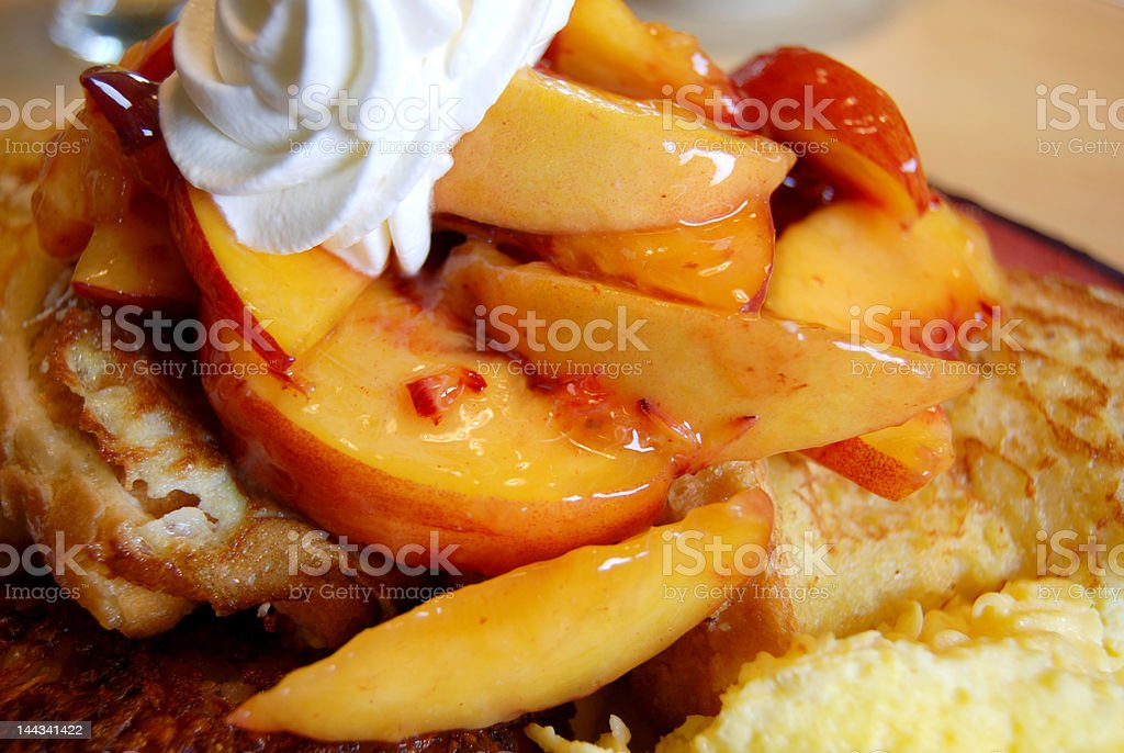 French Toast with Fresh Peach royalty-free stock photo