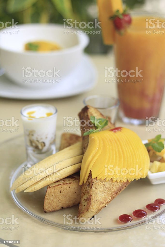French Toast with Mango royalty-free stock photo