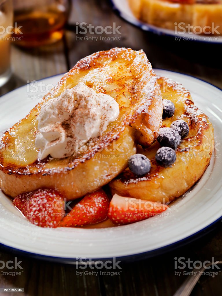 French Toast with Maple Syrup and Berries stock photo