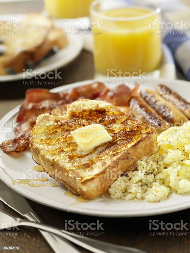 French Toast with Maple Syrup royalty-free stock photo