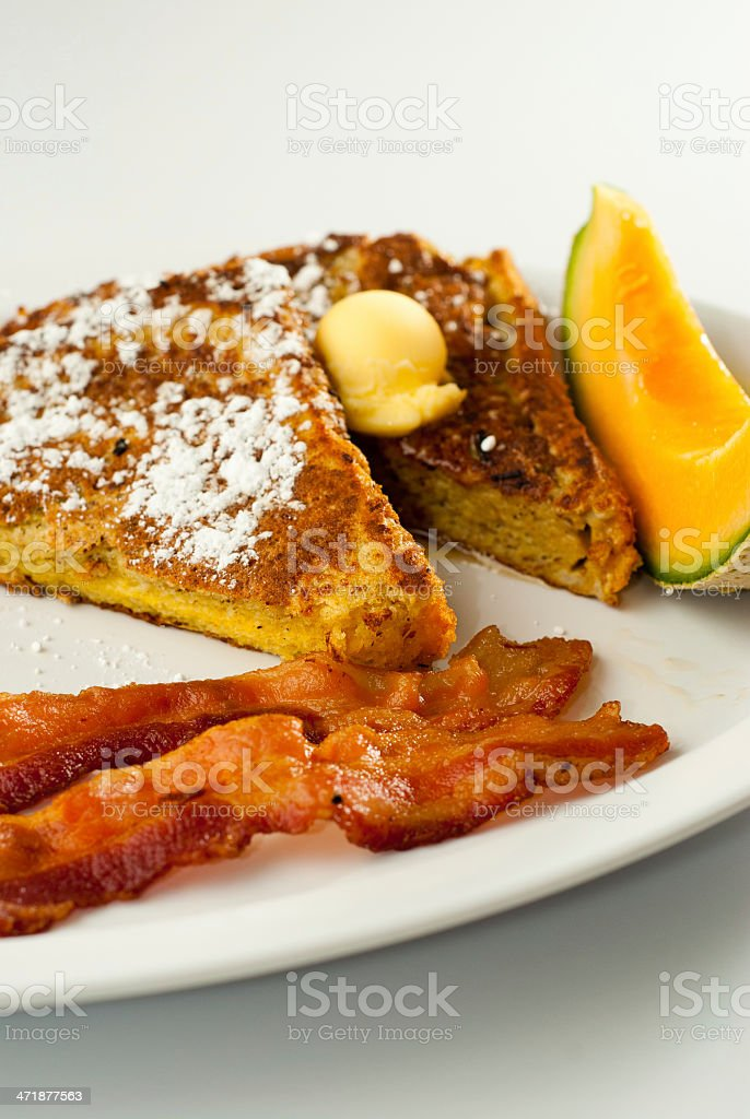 French toast with powdered sugar royalty-free stock photo