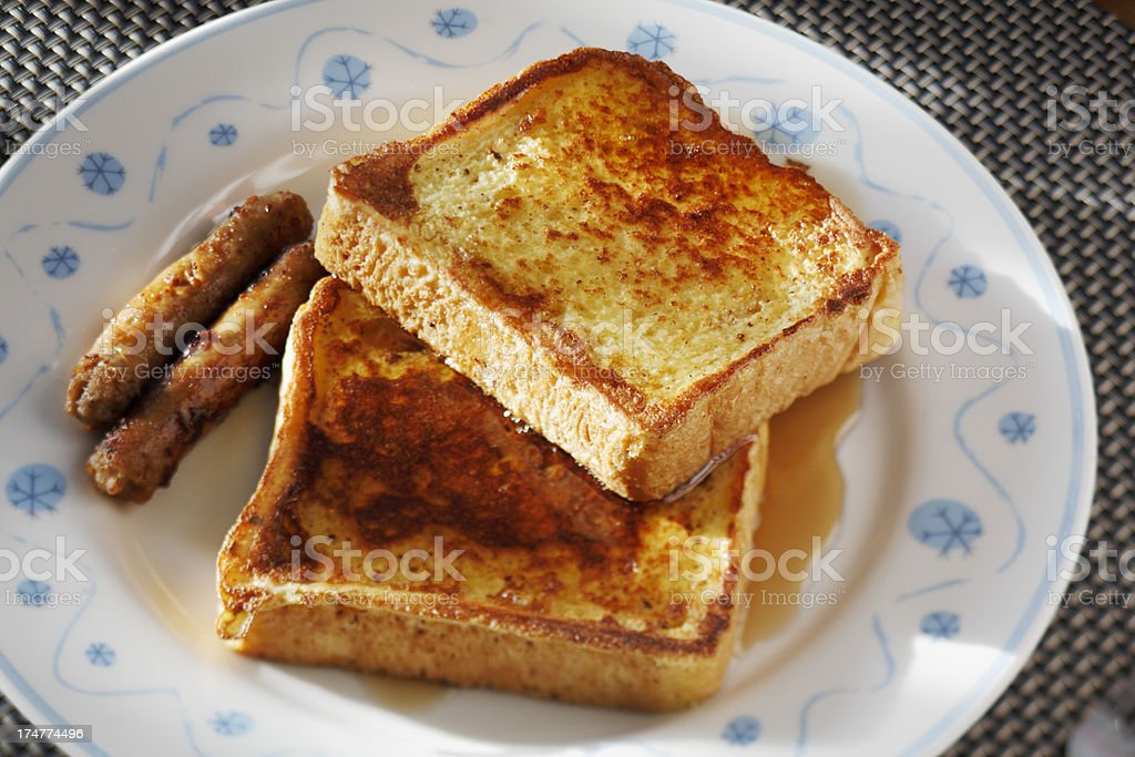 French toast with sausage links. royalty-free stock photo