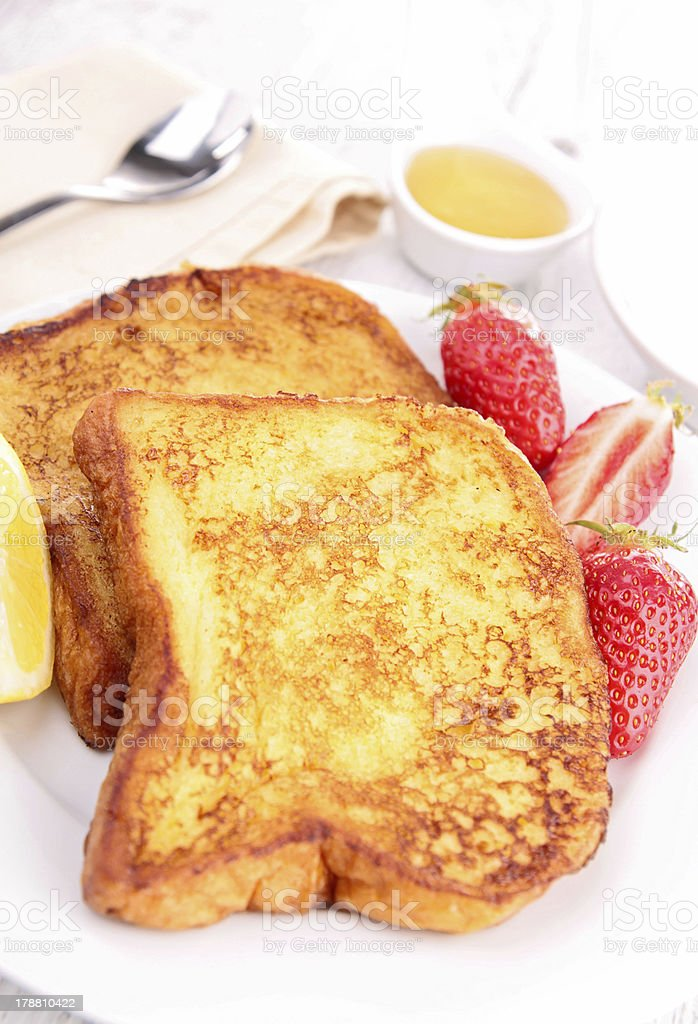 french toast with strawberry royalty-free stock photo