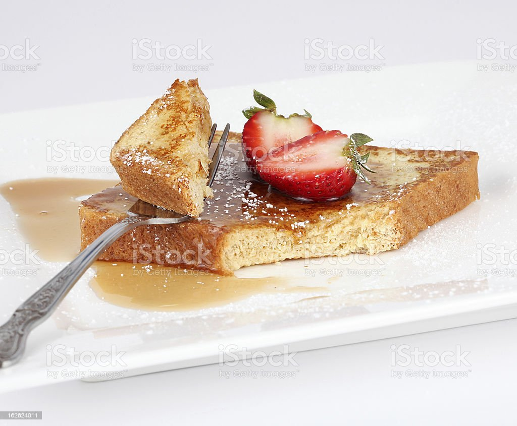 French toast with syrup and strawberry stock photo