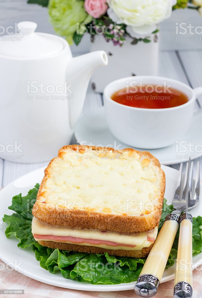 French toasted sandwich Croque monsieur with ham and cheese stock photo