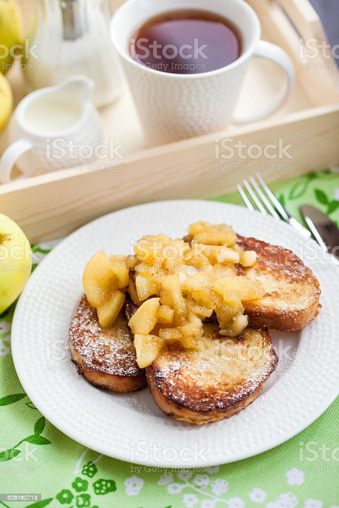 French toasts with stewed apples stock photo