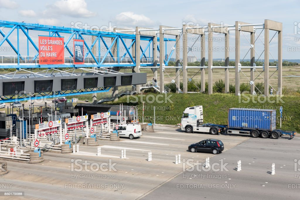 French toll station for Pont de Normandie over river Seine stock photo