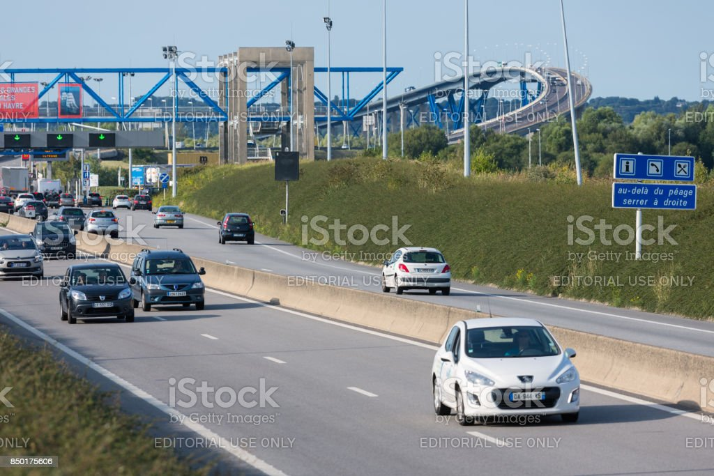 French toll station Pont de Normandie over river Seine stock photo