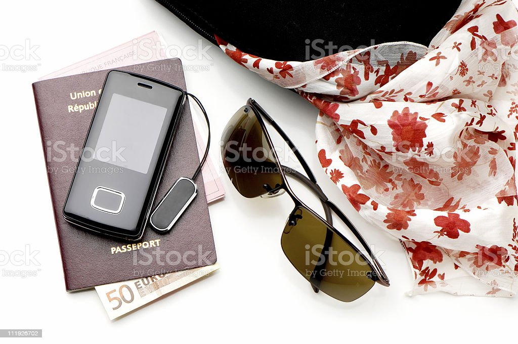 French Tourist Passport Phone Sunglasses Scarf Euro Note royalty-free stock photo