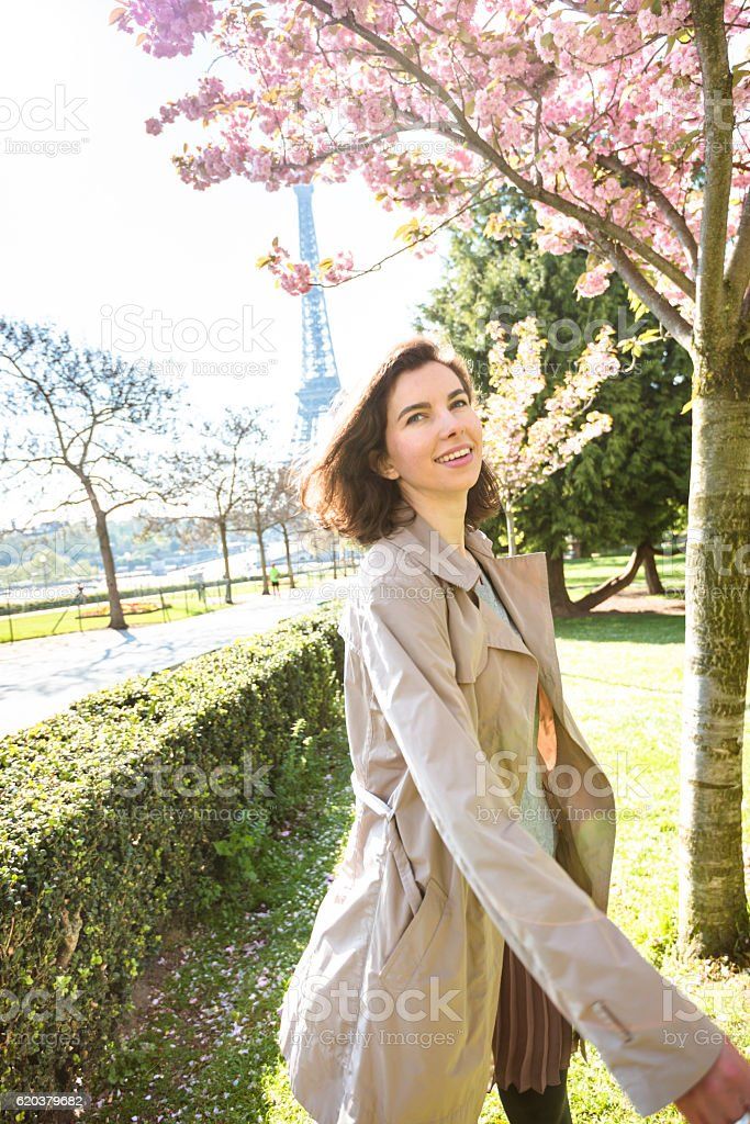 french tourist woman in paris for spring stock photo
