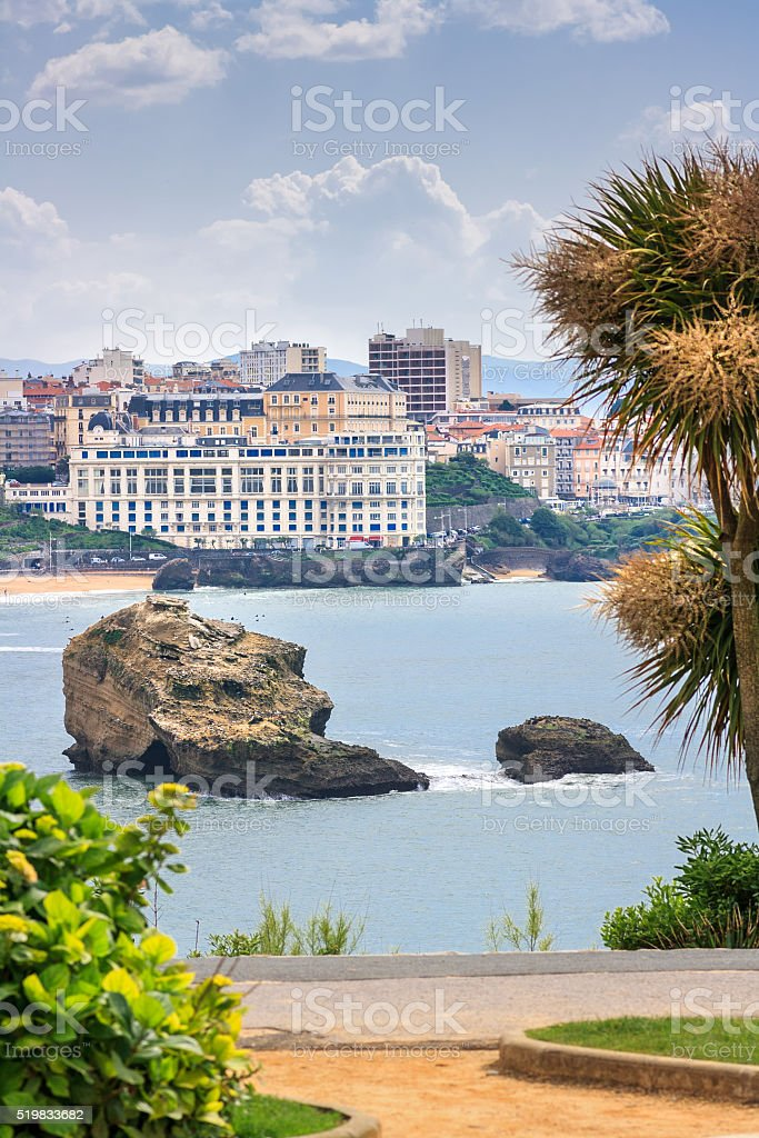 French town Biarritz in Basque-Country: View onto the Grande Plage stock photo
