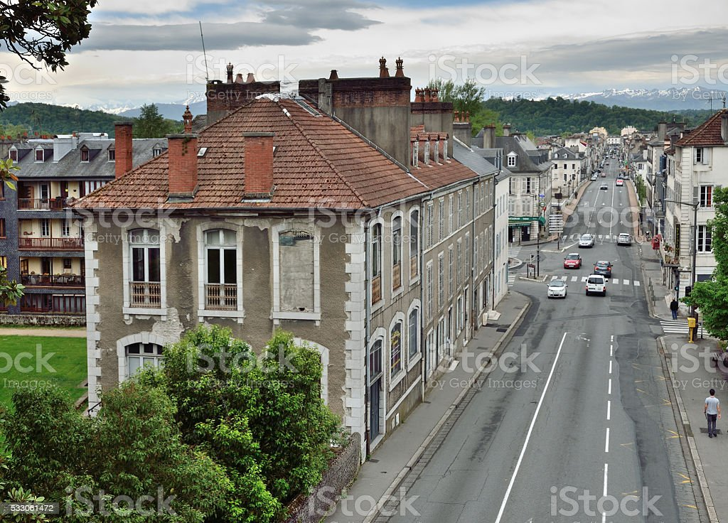 French town Pau against the remote mountains stock photo