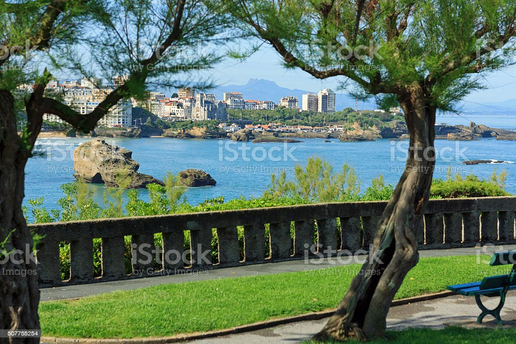 French travel destination: Bay of Biscay - View onto Biarritz stock photo