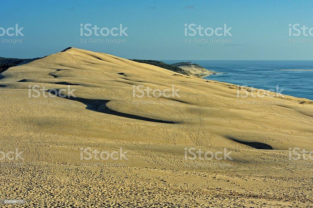 French travel destination: Dune of Pyla near the town Arcachon stock photo