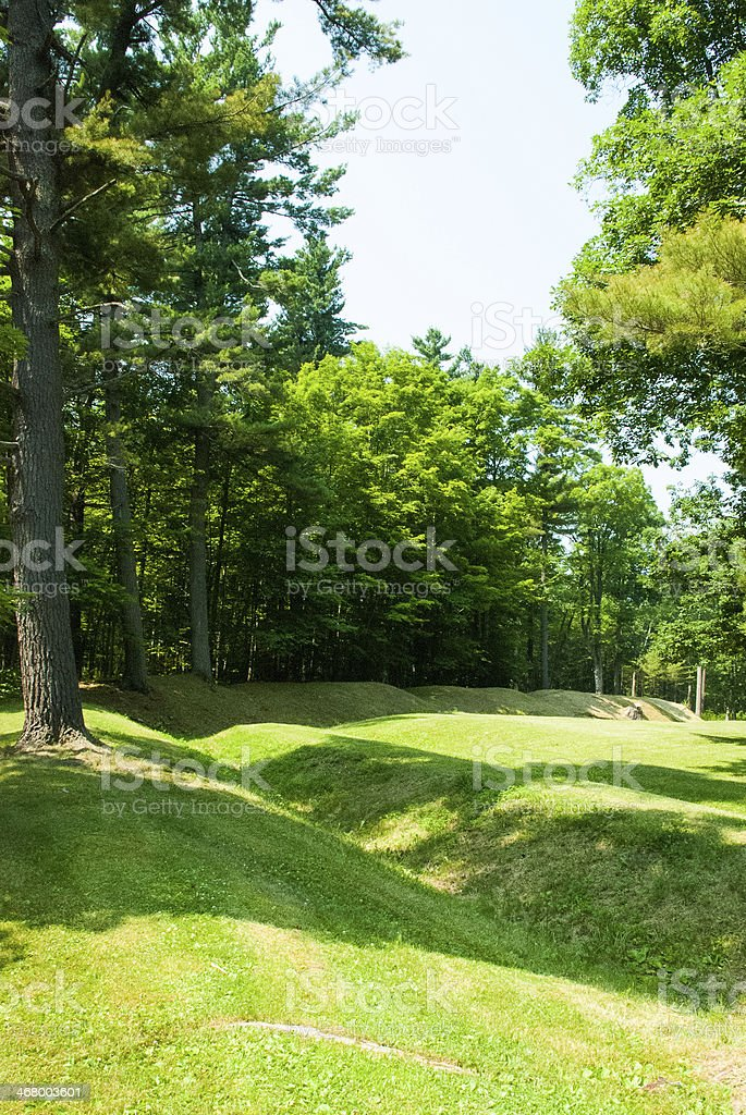 French Trenches from Battle Fort Ticonderoga New York stock photo