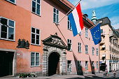 French Tricolours Flag And Flag Of European Union Decorate Building