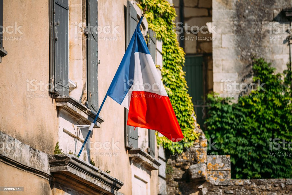 French Tricolours National Flag Decorate Old Building In France stock photo