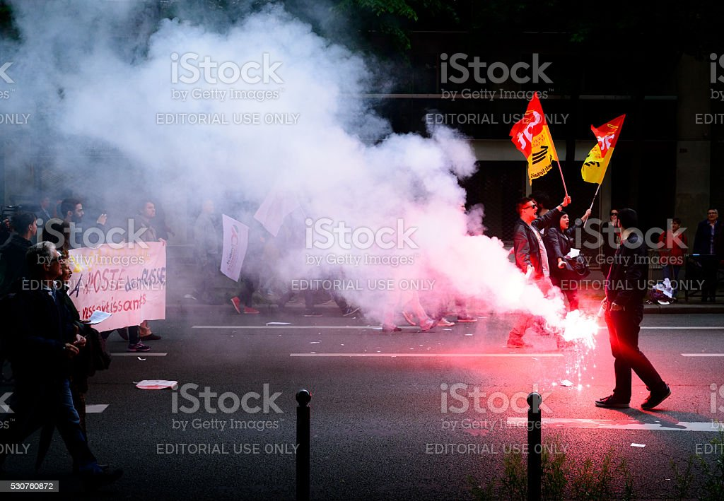 French unions and students protest in Paris, France stock photo
