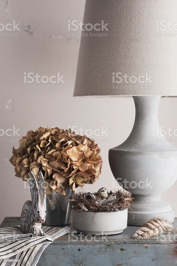 French vignette decor styling with nature elements stock photo
