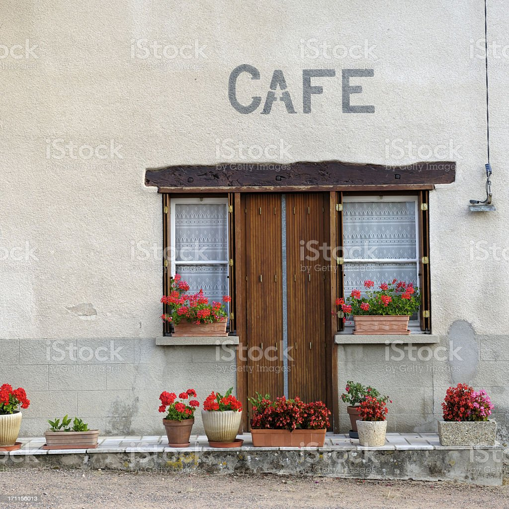 French village cafe stock photo