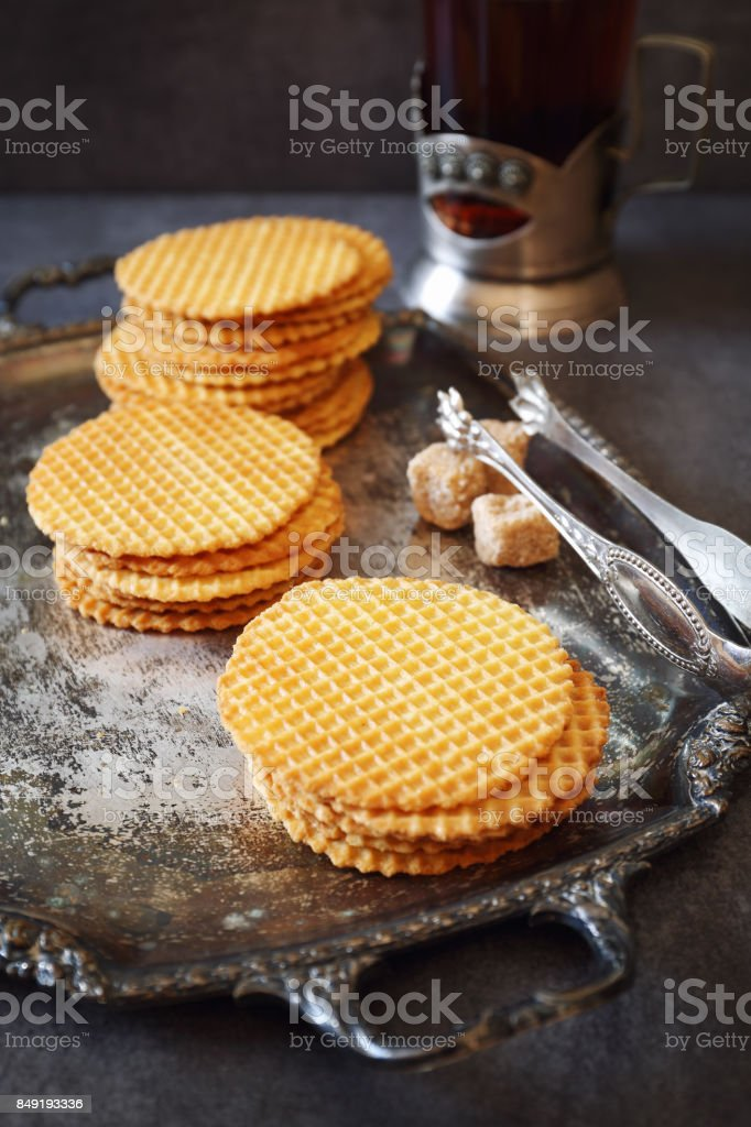 French waffles, traditional norman biscuit and tea stock photo