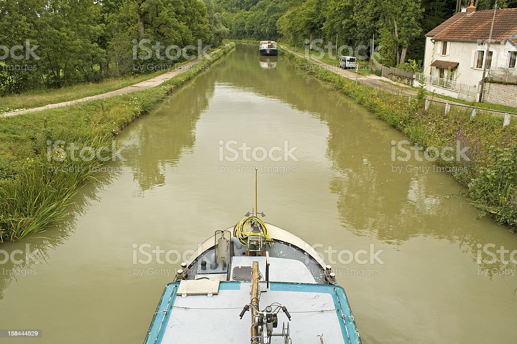 French waterway, boat in Canal Bourgogne. France. stock photo
