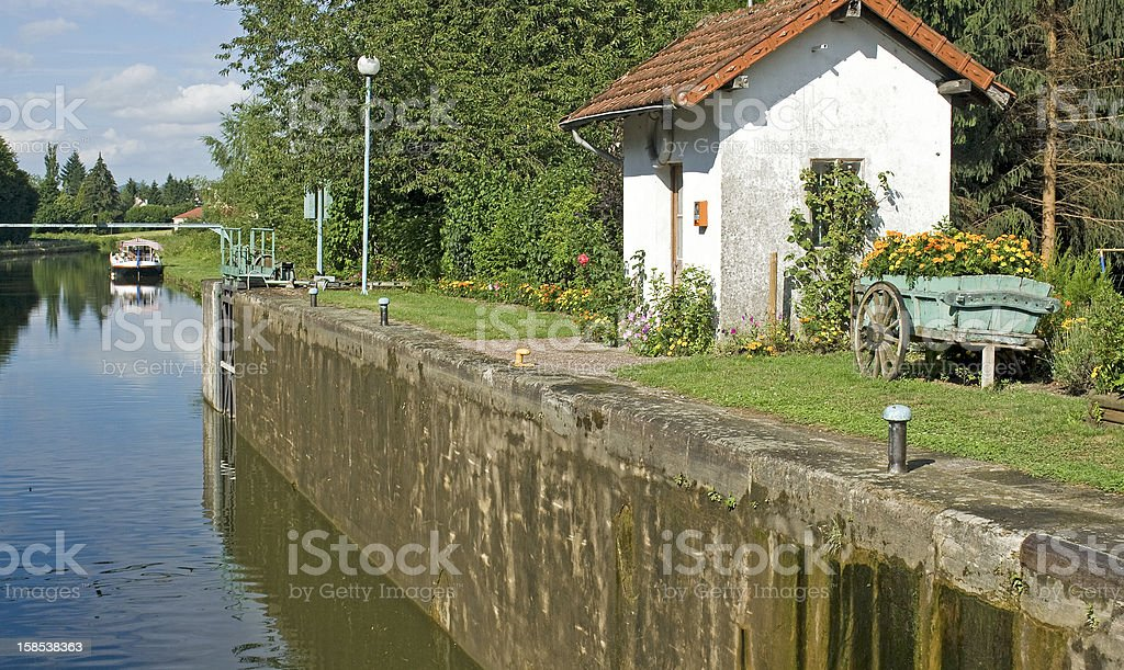 French waterway, lock in Canal du Centre. France. stock photo