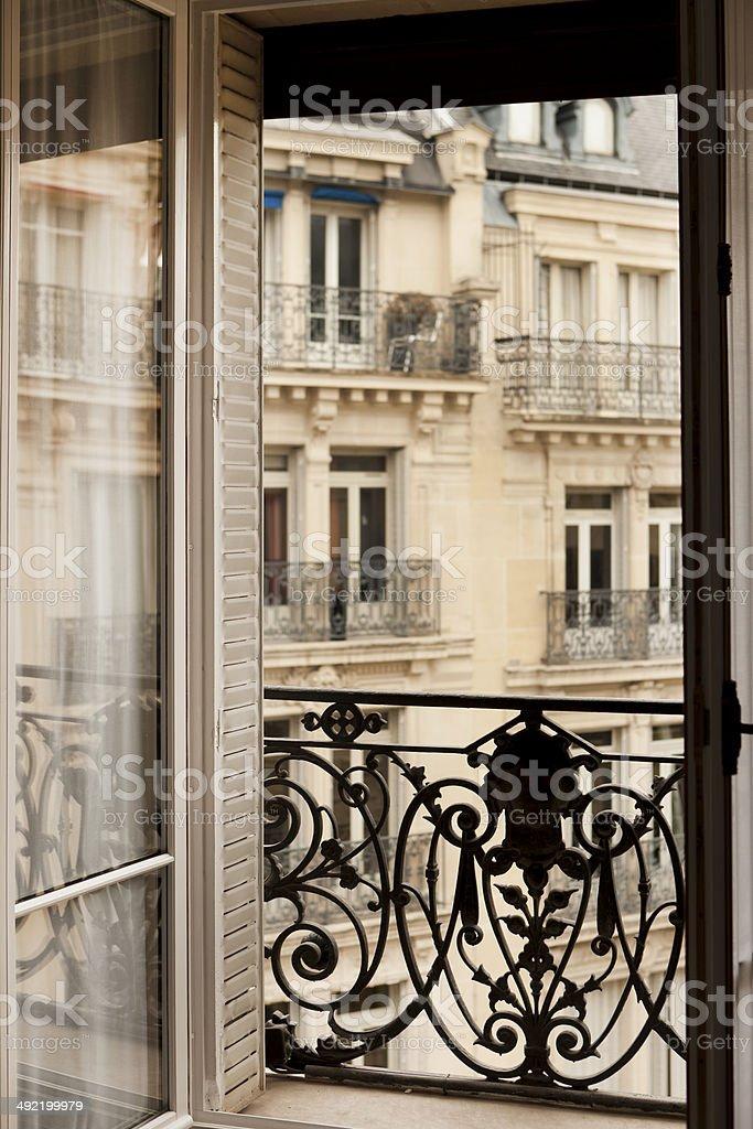 French Window Balcony in Paris stock photo