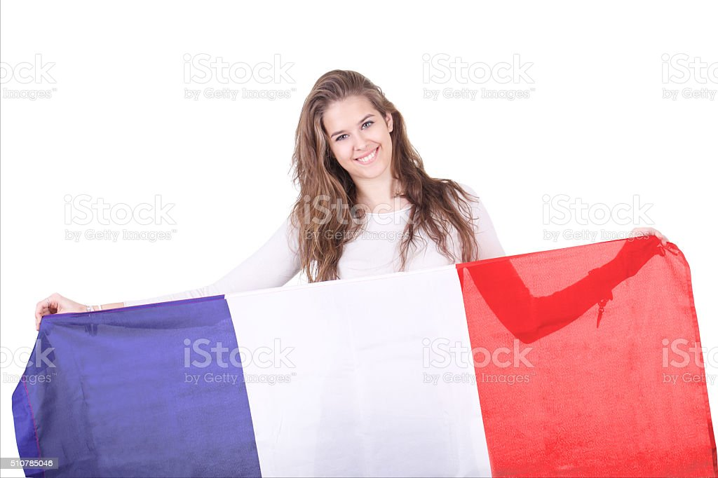 French woman holding uo the Tricolor Flag stock photo