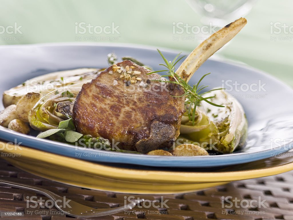 frenched veal chop stock photo